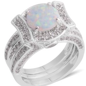 Lab Created Opal, Simulated Diamond Silvertone Set